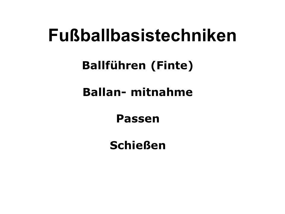 Fußballbasistechniken Ballführen (Finte) Ballan- mitnahme Passen Schießen