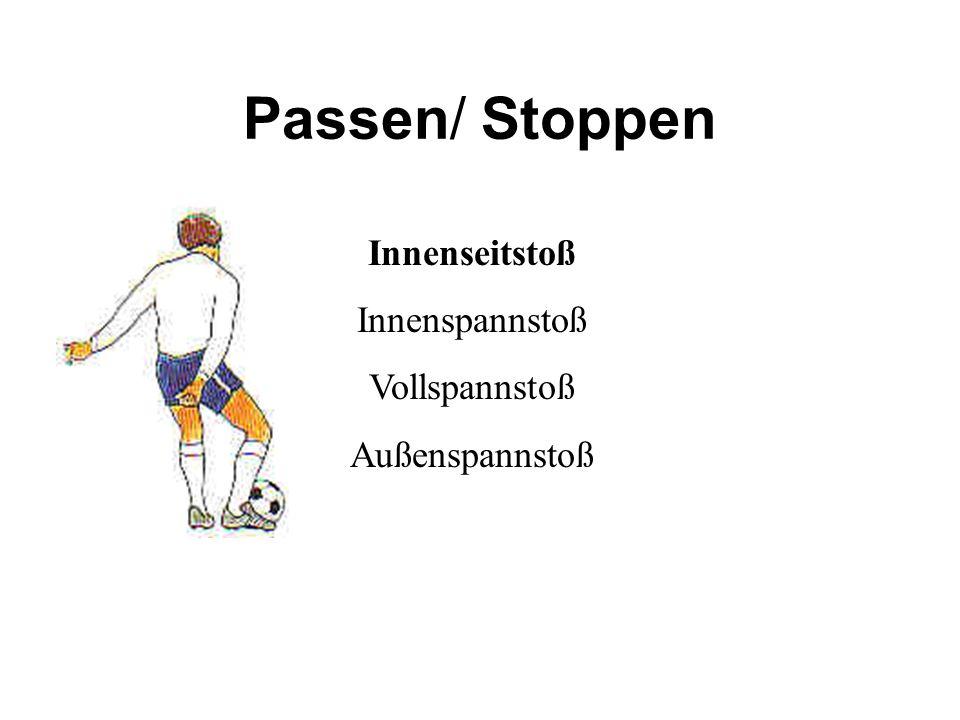 Passen/ Stoppen Innenseitstoß Innenspannstoß Vollspannstoß Außenspannstoß
