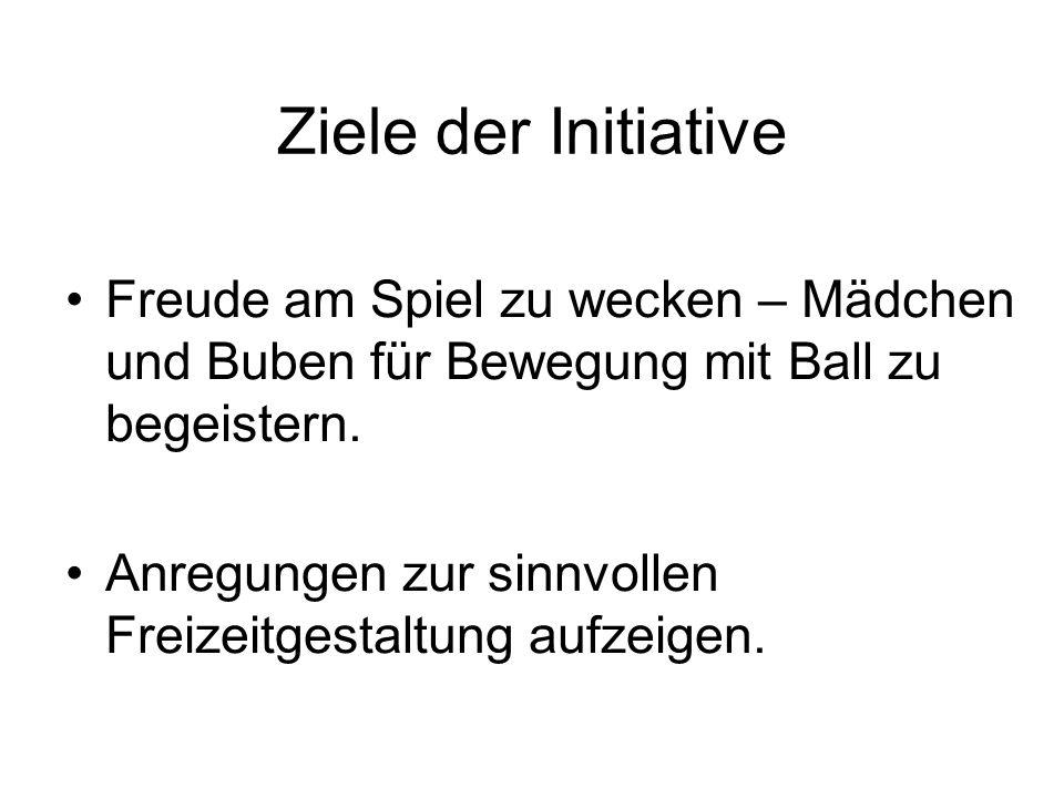 Ziele der Initiative Freude am Spiel zu wecken – Mädchen und Buben für Bewegung mit Ball zu begeistern. Anregungen zur sinnvollen Freizeitgestaltung a