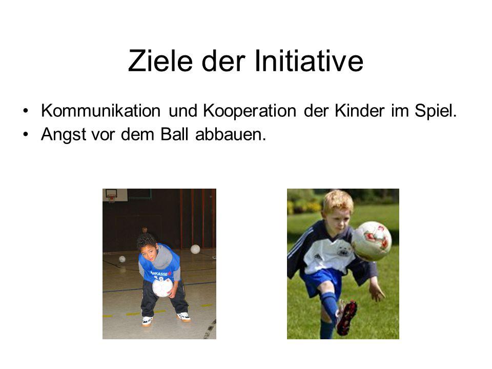Ziele der Initiative Kommunikation und Kooperation der Kinder im Spiel. Angst vor dem Ball abbauen.