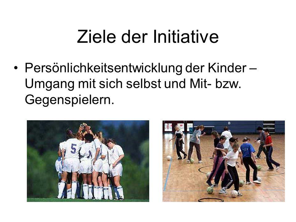 Ziele der Initiative Persönlichkeitsentwicklung der Kinder – Umgang mit sich selbst und Mit- bzw. Gegenspielern.