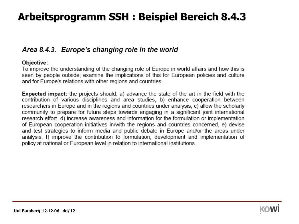 Uni Bamberg 12.12.06 dd/12 Arbeitsprogramm SSH : Beispiel Bereich 8.4.3