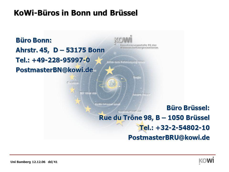 Uni Bamberg 12.12.06 dd/41 Büro Bonn: Ahrstr.