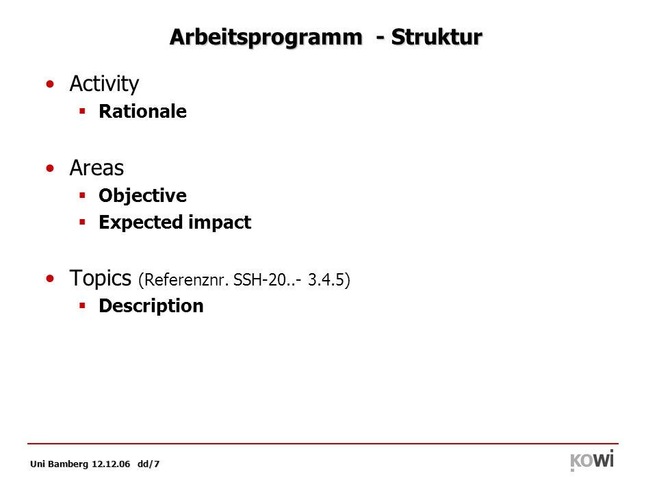 Uni Bamberg 12.12.06 dd/8 Arbeitsprogramm SSH: Beispiel