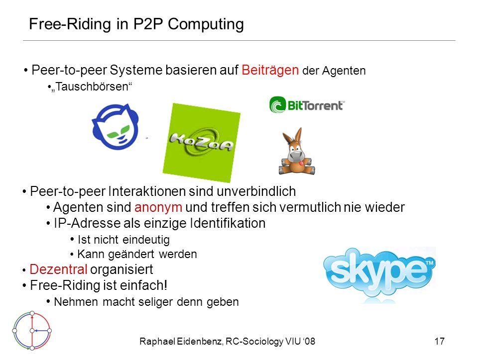 """Raphael Eidenbenz, RC-Sociology VIU '0817 Peer-to-peer Systeme basieren auf Beiträgen der Agenten """"Tauschbörsen"""" Free-Riding in P2P Computing Peer-to-"""
