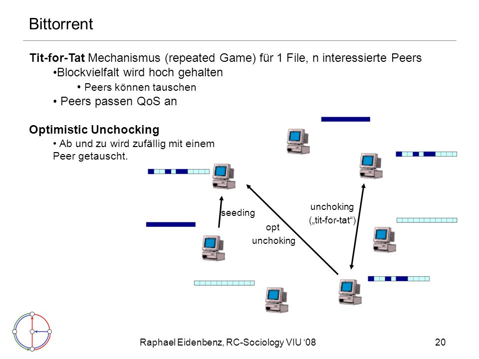 "Raphael Eidenbenz, RC-Sociology VIU '0820 Bittorrent seeding opt unchoking (""tit-for-tat"") Tit-for-Tat Mechanismus (repeated Game) für 1 File, n inter"