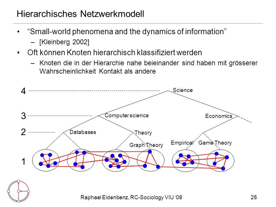 "Raphael Eidenbenz, RC-Sociology VIU '0826 Hierarchisches Netzwerkmodell ""Small-world phenomena and the dynamics of information"" –[Kleinberg 2002] Oft"