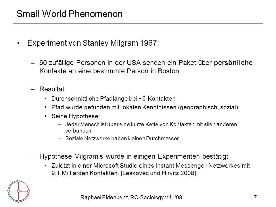 Raphael Eidenbenz, RC-Sociology VIU '087 Small World Phenomenon Experiment von Stanley Milgram 1967: –60 zufällige Personen in der USA senden ein Paket über persönliche Kontakte an eine bestimmte Person in Boston –Resultat: Durchschnittliche Pfadlänge bei ~6 Kontakten Pfad wurde gefunden mit lokalen Kenntnissen (geographisch, sozial) Seine Hypothese: –Jeder Mensch ist über eine kurze Kette von Kontakten mit allen anderen verbunden –Soziale Netzwerke haben kleinen Durchmesser –Hypothese Milgram's wurde in einigen Experimenten bestätigt Zuletzt in einer Microsoft Studie eines Instant Messenger-Netzwerkes mit 9,1 Milliarden Kontakten.