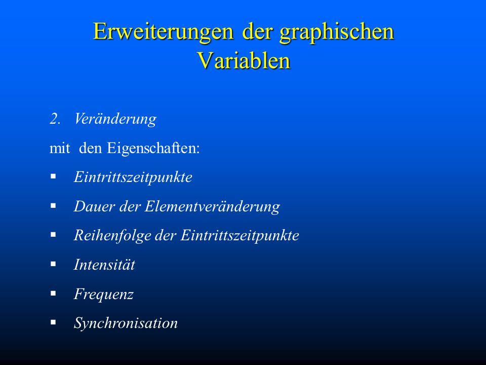 Erweiterungen der graphischen Variablen 2.Veränderung mit den Eigenschaften:  Eintrittszeitpunkte  Dauer der Elementveränderung  Reihenfolge der Eintrittszeitpunkte  Intensität  Frequenz  Synchronisation