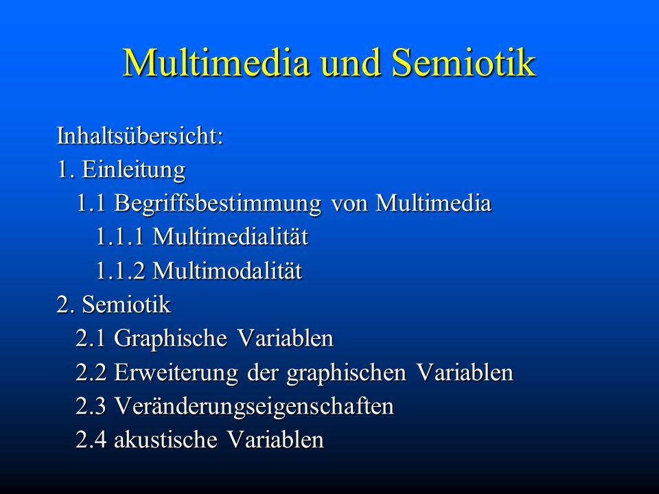 Multimedia und Semiotik Inhaltsübersicht: 1.