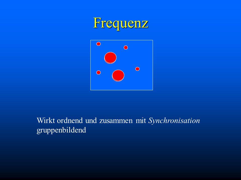 Frequenz Wirkt ordnend und zusammen mit Synchronisation gruppenbildend