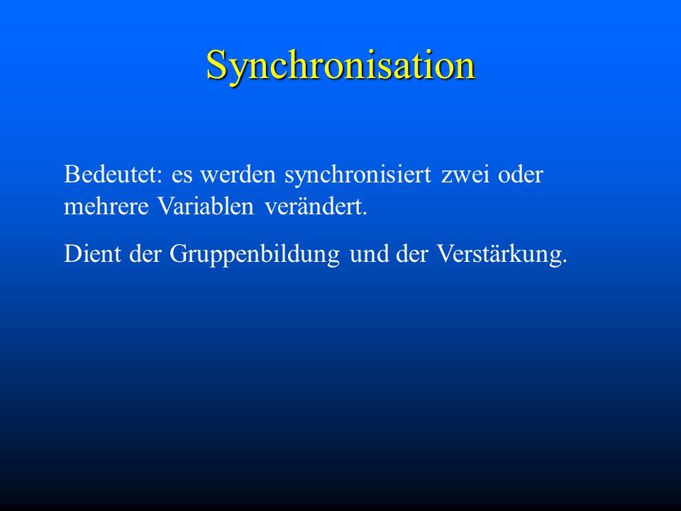 Synchronisation Bedeutet: es werden synchronisiert zwei oder mehrere Variablen verändert.
