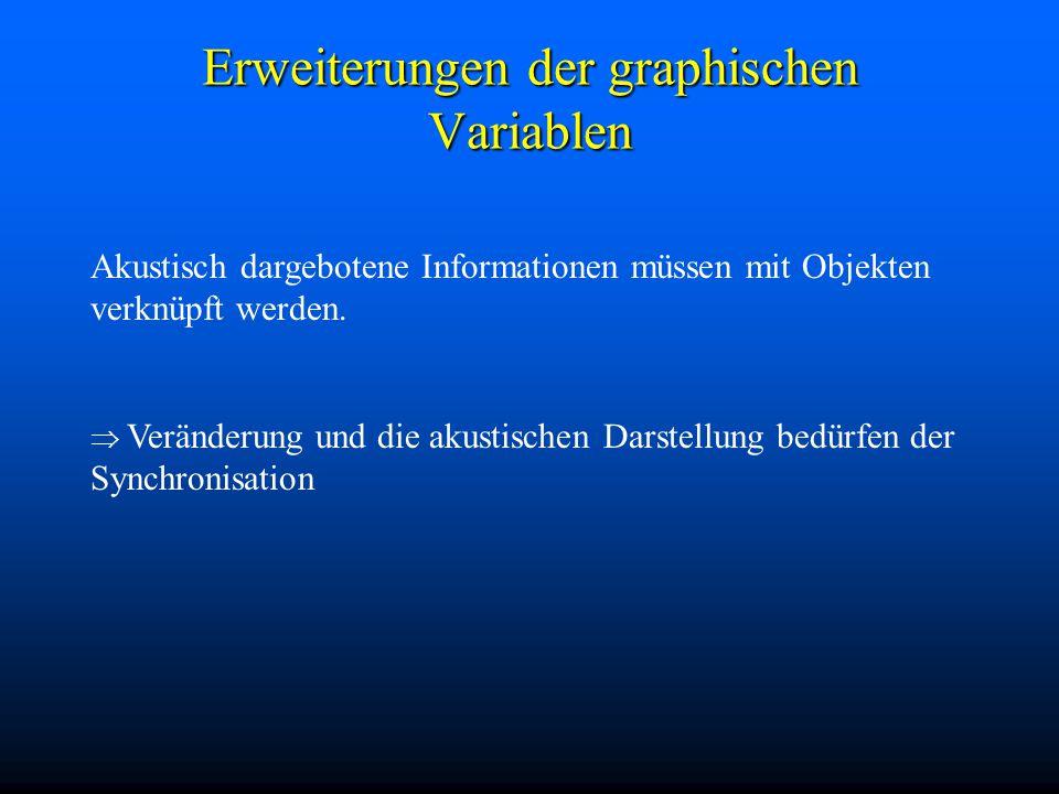 Erweiterungen der graphischen Variablen Akustisch dargebotene Informationen müssen mit Objekten verknüpft werden.