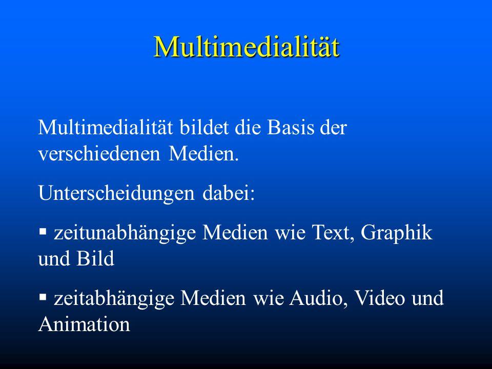 Multimedialität Multimedialität bildet die Basis der verschiedenen Medien.