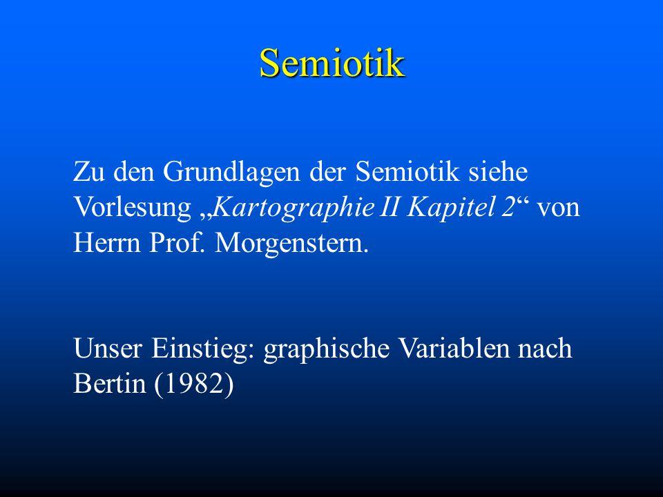 """Semiotik Zu den Grundlagen der Semiotik siehe Vorlesung """"Kartographie II Kapitel 2 von Herrn Prof."""