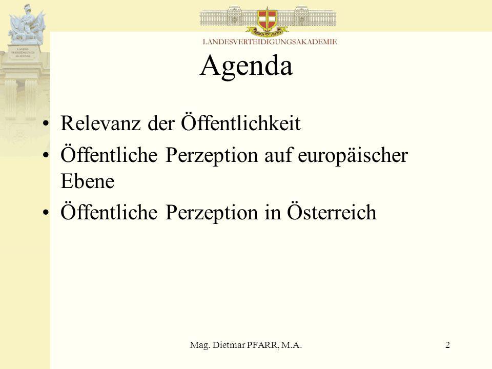 Mag. Dietmar PFARR, M.A.2 Agenda Relevanz der Öffentlichkeit Öffentliche Perzeption auf europäischer Ebene Öffentliche Perzeption in Österreich