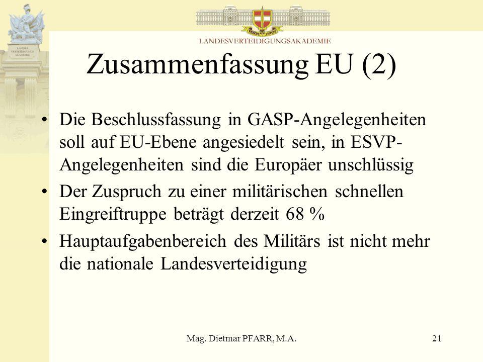 Mag. Dietmar PFARR, M.A.21 Zusammenfassung EU (2) Die Beschlussfassung in GASP-Angelegenheiten soll auf EU-Ebene angesiedelt sein, in ESVP- Angelegenh