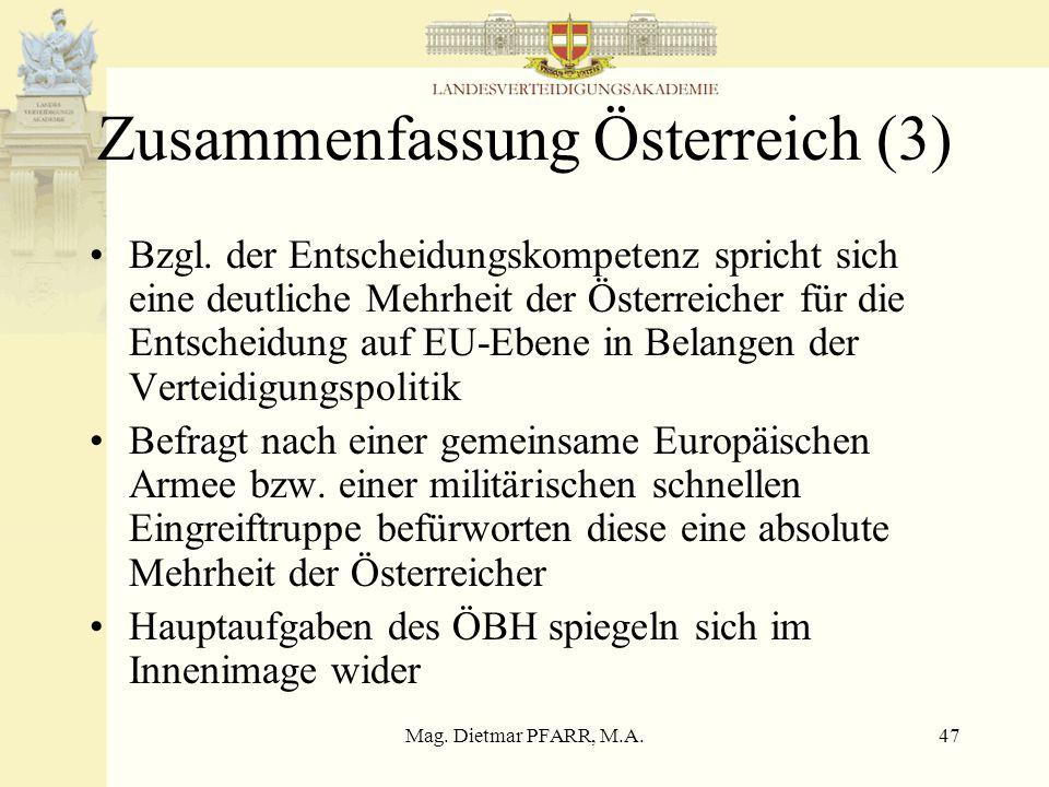 Mag. Dietmar PFARR, M.A.47 Zusammenfassung Österreich (3) Bzgl.