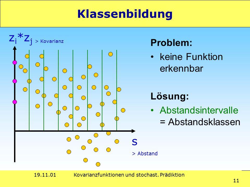 19.11.01Kovarianzfunktionen und stochast. Prädiktion 11 Klassenbildung Problem: keine Funktion erkennbar Lösung: Abstandsintervalle = Abstandsklassen