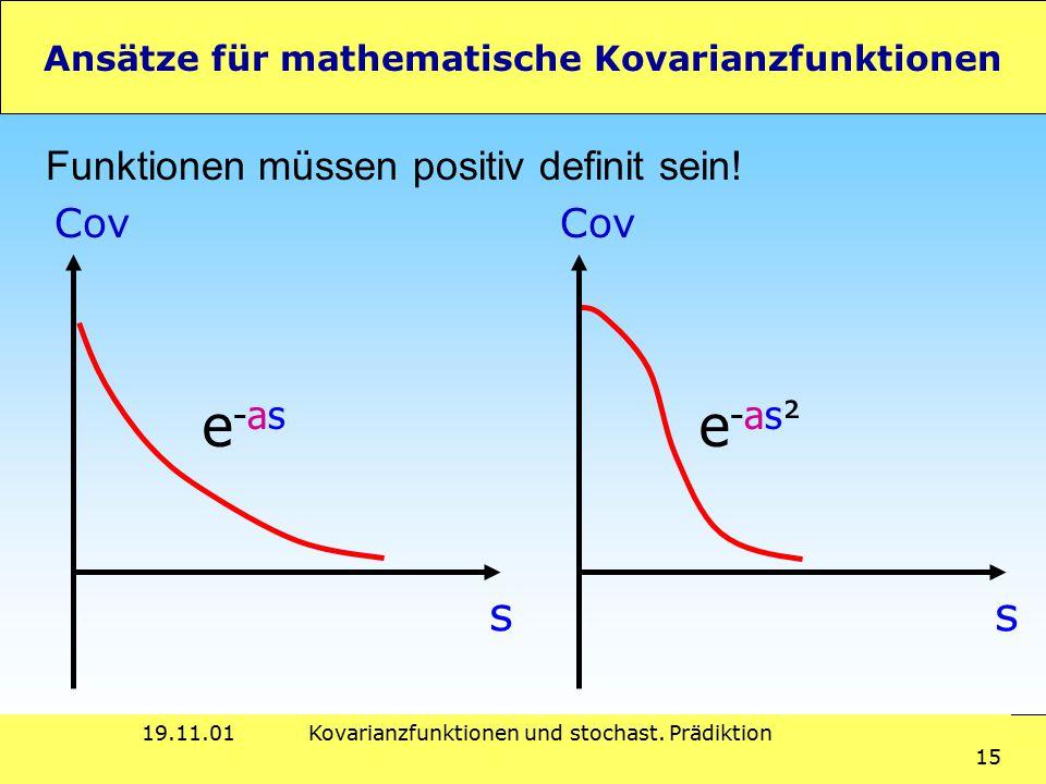 19.11.01Kovarianzfunktionen und stochast. Prädiktion 15 Ansätze für mathematische Kovarianzfunktionen Funktionen müssen positiv definit sein! s Cov s
