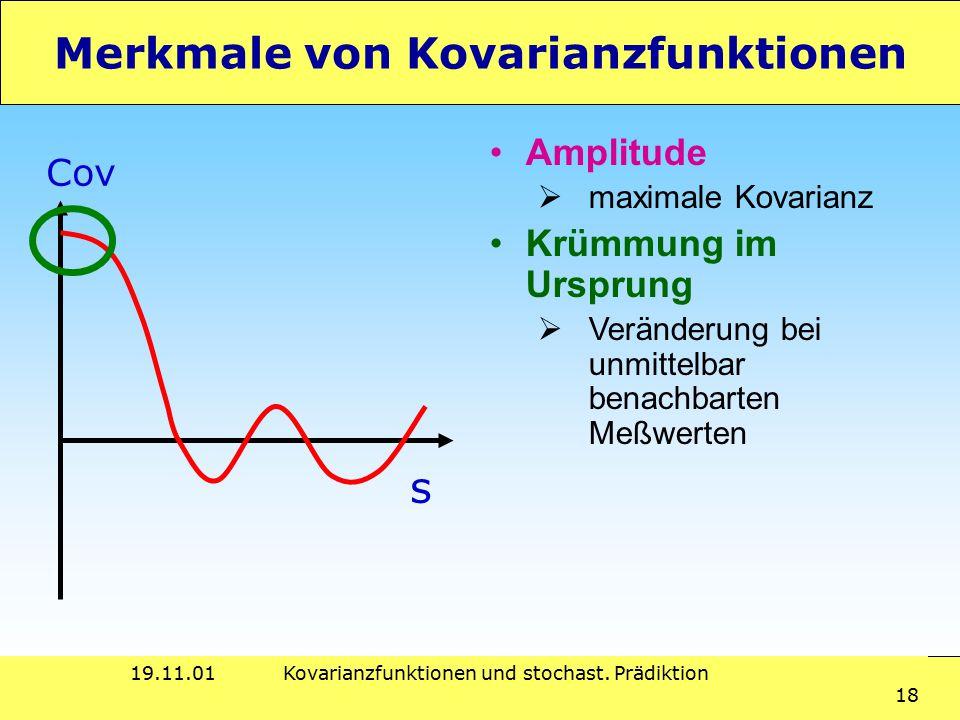 19.11.01Kovarianzfunktionen und stochast. Prädiktion 18 Merkmale von Kovarianzfunktionen Amplitude  maximale Kovarianz Krümmung im Ursprung  Verände