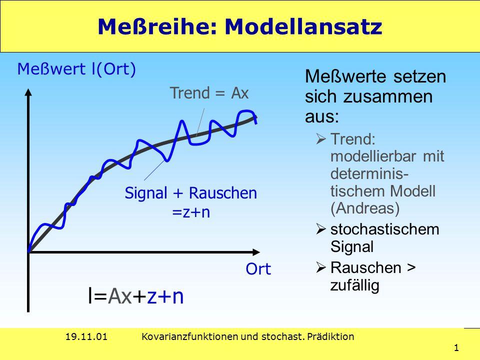 19.11.01Kovarianzfunktionen und stochast. Prädiktion 1 Meßreihe: Modellansatz Meßwerte setzen sich zusammen aus:  Trend: modellierbar mit determinis-
