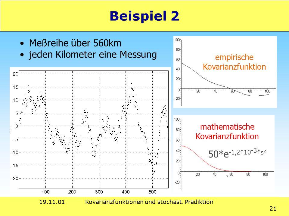 19.11.01Kovarianzfunktionen und stochast. Prädiktion 21 Beispiel 2 empirische Kovarianzfunktion mathematische Kovarianzfunktion 50*e -1,2*10 -3 *s² Me