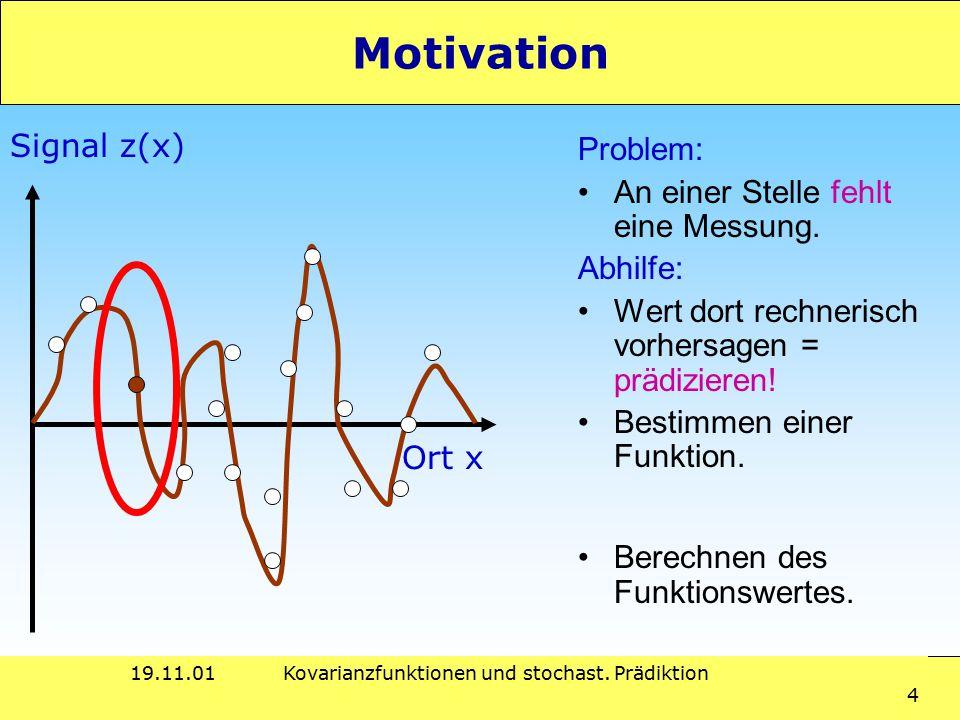 19.11.01Kovarianzfunktionen und stochast. Prädiktion 4 Motivation Problem: An einer Stelle fehlt eine Messung. Abhilfe: Wert dort rechnerisch vorhersa
