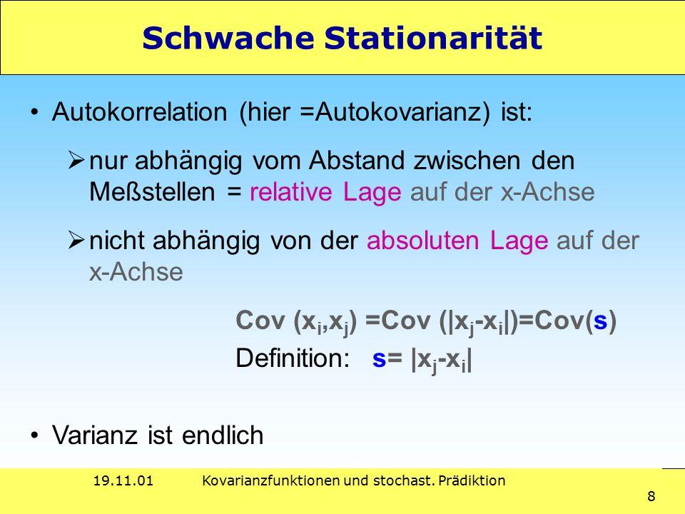 19.11.01Kovarianzfunktionen und stochast. Prädiktion 8 Schwache Stationarität Autokorrelation (hier =Autokovarianz) ist:  nur abhängig vom Abstand zw