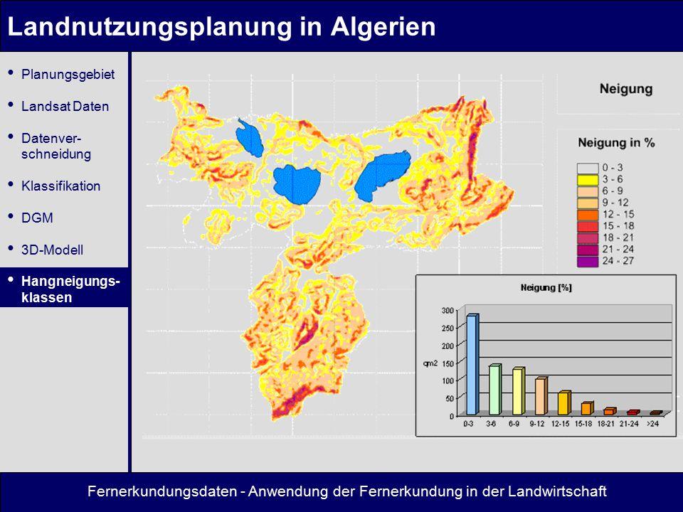 Fernerkundungsdaten - Anwendung der Fernerkundung in der Landwirtschaft Landnutzungsplanung in Algerien Planungsgebiet Landsat Daten Datenver- schneid