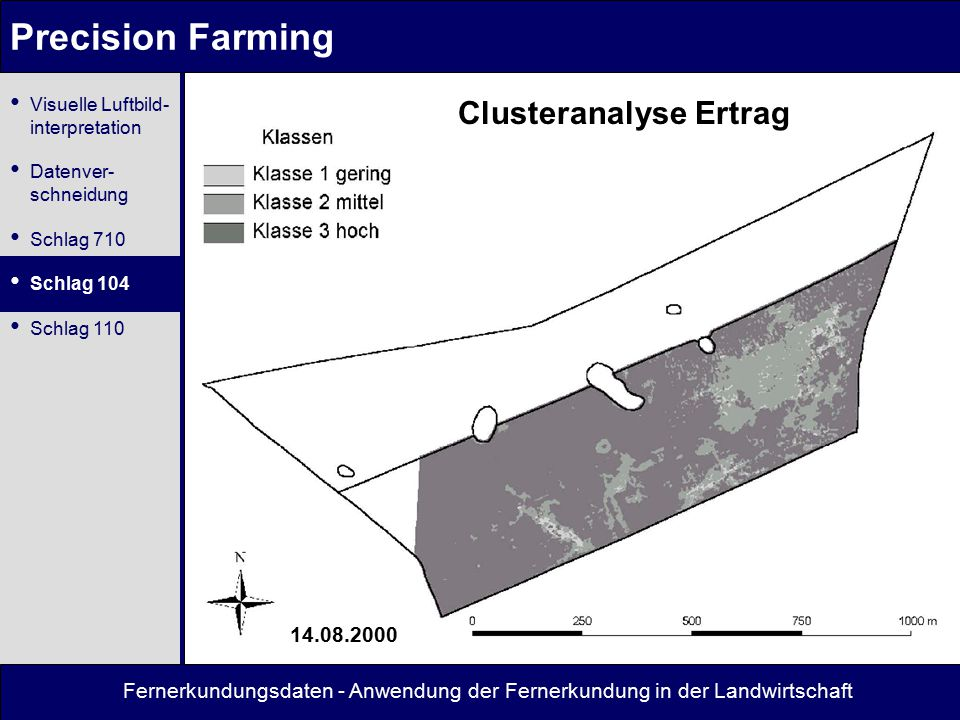 Fernerkundungsdaten - Anwendung der Fernerkundung in der Landwirtschaft Precision Farming Clusteranalyse Ertrag 14.08.2000 Visuelle Luftbild- interpretation Datenver- schneidung Schlag 710 Schlag 104 Schlag 110