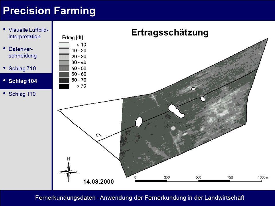 Fernerkundungsdaten - Anwendung der Fernerkundung in der Landwirtschaft Precision Farming Ertragsschätzung 14.08.2000 Visuelle Luftbild- interpretation Datenver- schneidung Schlag 710 Schlag 104 Schlag 110
