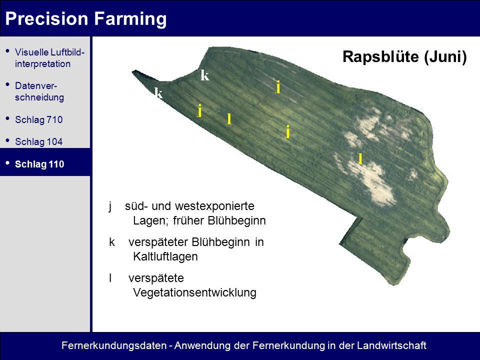 Fernerkundungsdaten - Anwendung der Fernerkundung in der Landwirtschaft Precision Farming Rapsblüte (Juni) j süd- und westexponierte Lagen; früher Blü