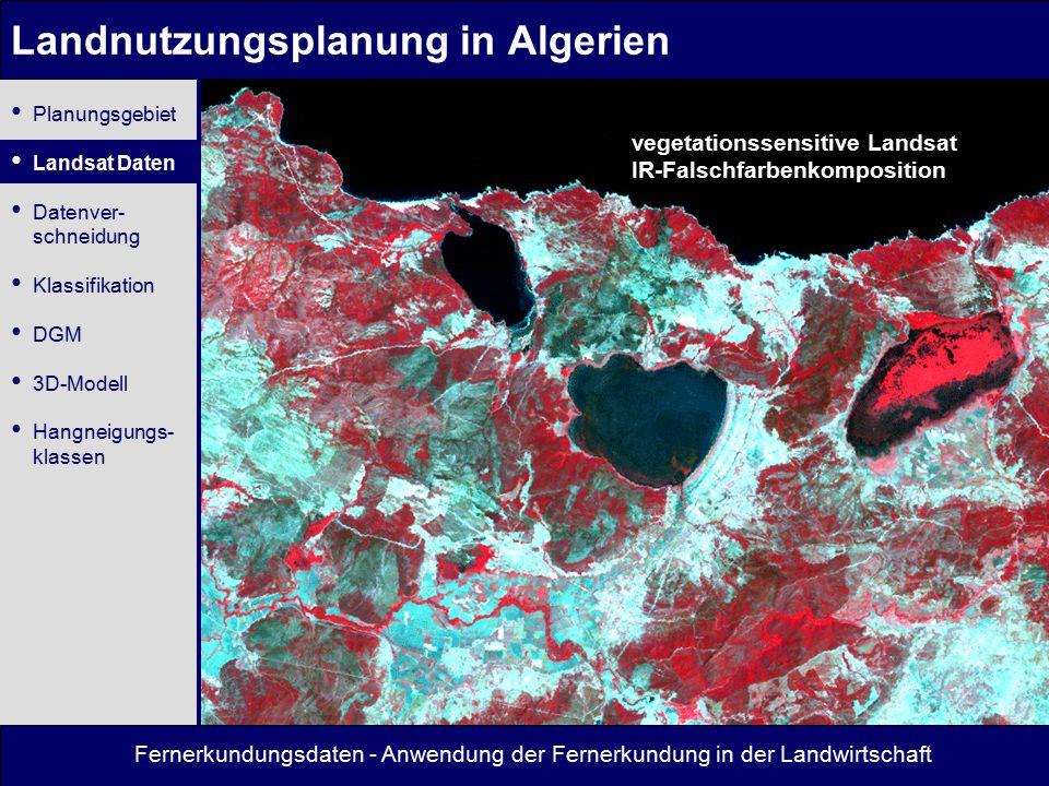 Fernerkundungsdaten - Anwendung der Fernerkundung in der Landwirtschaft Landnutzungsplanung in Algerien vegetationssensitive Landsat IR-Falschfarbenkomposition Planungsgebiet Landsat Daten Datenver- schneidung Klassifikation DGM 3D-Modell Hangneigungs- klassen