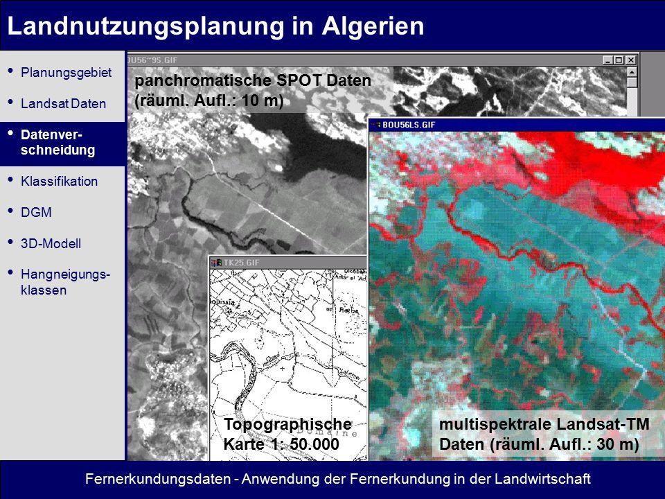 Fernerkundungsdaten - Anwendung der Fernerkundung in der Landwirtschaft Landnutzungsplanung in Algerien Topographische Karte 1: 50.000 multispektrale Landsat-TM Daten (räuml.
