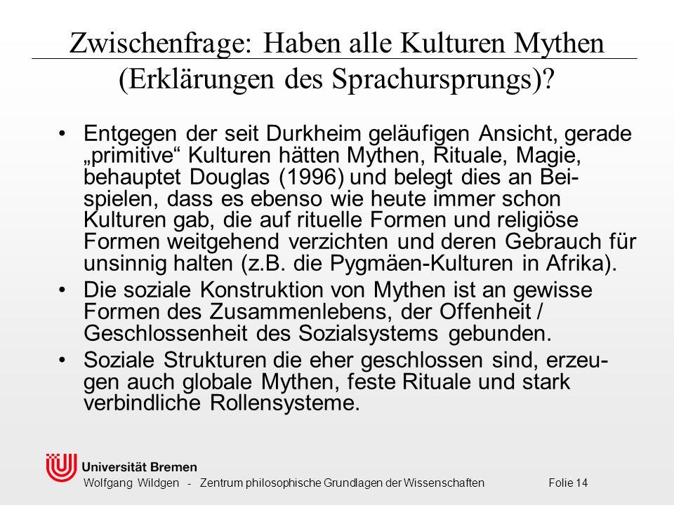 Wolfgang Wildgen - Zentrum philosophische Grundlagen der Wissenschaften Folie 14 Zwischenfrage: Haben alle Kulturen Mythen (Erklärungen des Sprachursprungs).