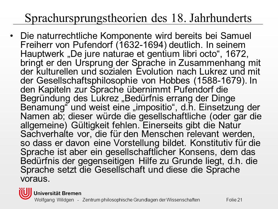 Wolfgang Wildgen - Zentrum philosophische Grundlagen der Wissenschaften Folie 21 Sprachursprungstheorien des 18.