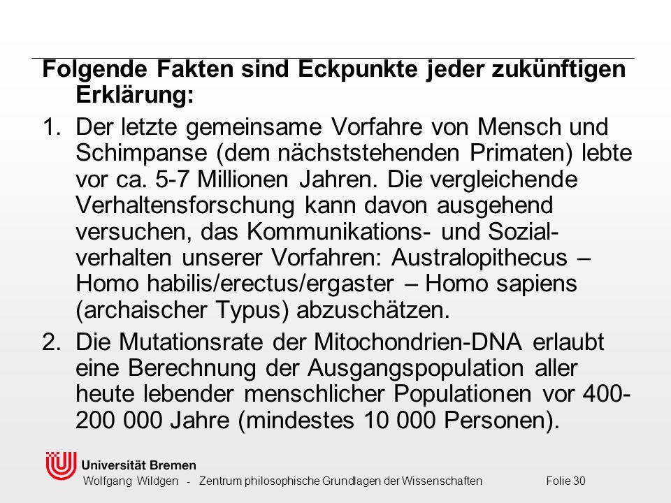Wolfgang Wildgen - Zentrum philosophische Grundlagen der Wissenschaften Folie 30 Folgende Fakten sind Eckpunkte jeder zukünftigen Erklärung: 1.Der letzte gemeinsame Vorfahre von Mensch und Schimpanse (dem nächststehenden Primaten) lebte vor ca.