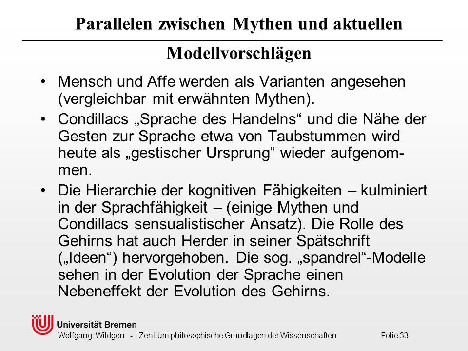 Wolfgang Wildgen - Zentrum philosophische Grundlagen der Wissenschaften Folie 33 Parallelen zwischen Mythen und aktuellen Modellvorschlägen Mensch und Affe werden als Varianten angesehen (vergleichbar mit erwähnten Mythen).
