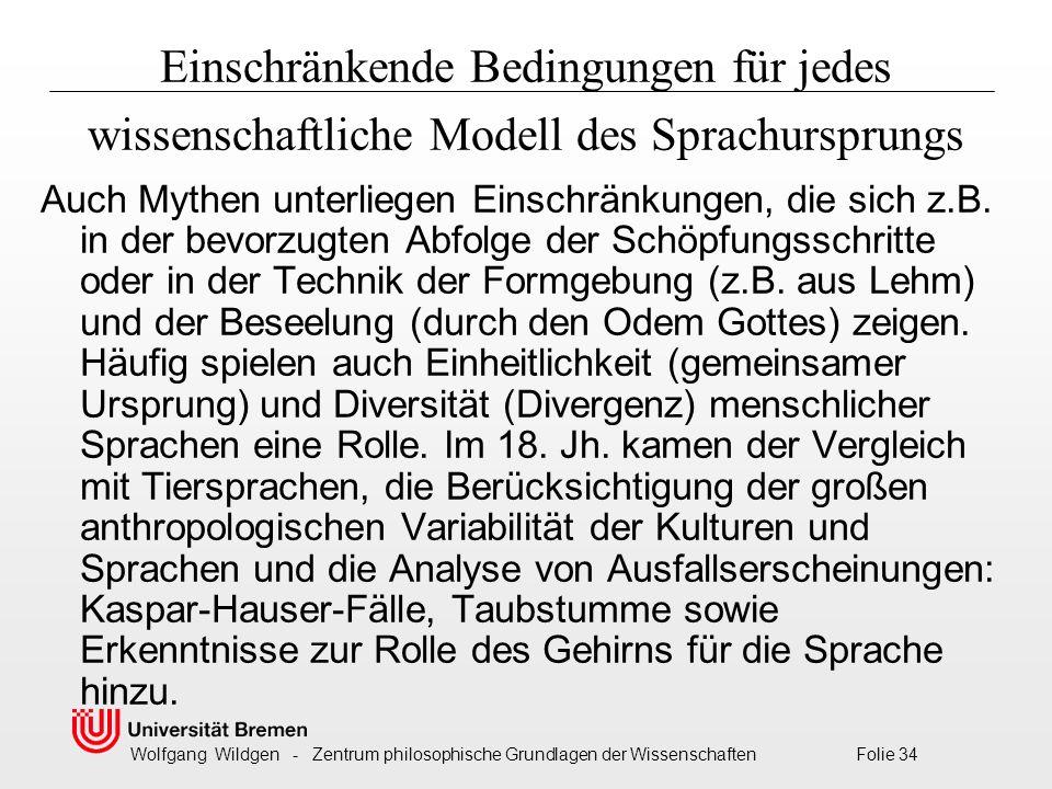 Wolfgang Wildgen - Zentrum philosophische Grundlagen der Wissenschaften Folie 34 Einschränkende Bedingungen für jedes wissenschaftliche Modell des Sprachursprungs Auch Mythen unterliegen Einschränkungen, die sich z.B.