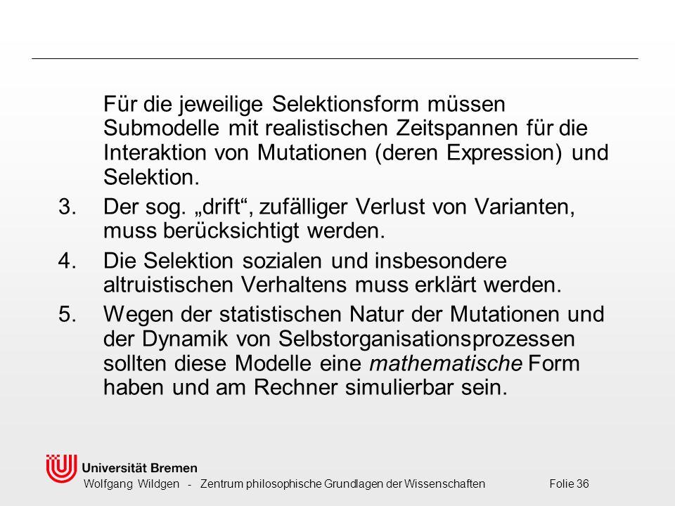 Wolfgang Wildgen - Zentrum philosophische Grundlagen der Wissenschaften Folie 36 Für die jeweilige Selektionsform müssen Submodelle mit realistischen Zeitspannen für die Interaktion von Mutationen (deren Expression) und Selektion.