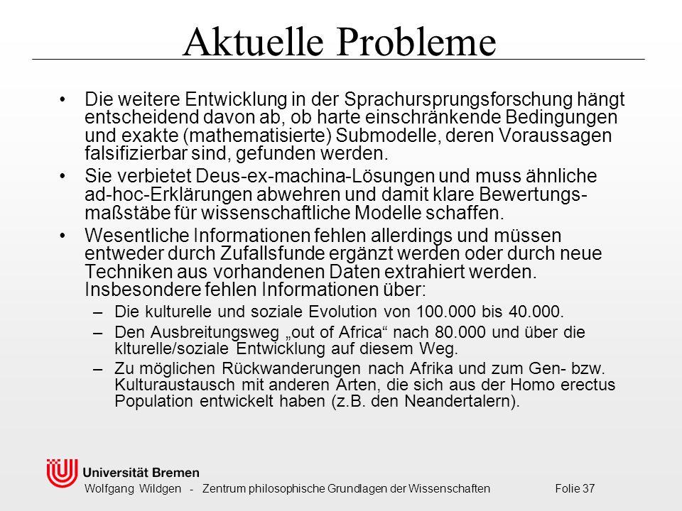 Wolfgang Wildgen - Zentrum philosophische Grundlagen der Wissenschaften Folie 37 Aktuelle Probleme Die weitere Entwicklung in der Sprachursprungsforschung hängt entscheidend davon ab, ob harte einschränkende Bedingungen und exakte (mathematisierte) Submodelle, deren Voraussagen falsifizierbar sind, gefunden werden.