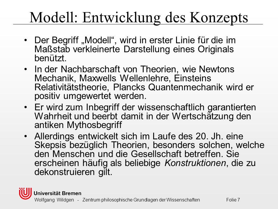 """Wolfgang Wildgen - Zentrum philosophische Grundlagen der Wissenschaften Folie 7 Modell: Entwicklung des Konzepts Der Begriff """"Modell , wird in erster Linie für die im Maßstab verkleinerte Darstellung eines Originals benützt."""