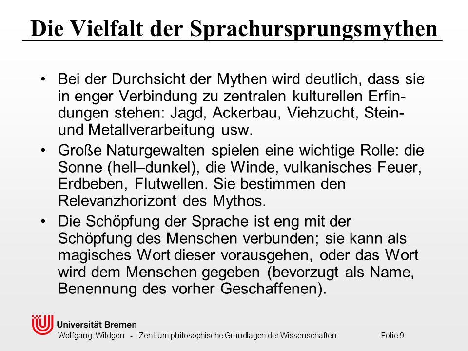 Wolfgang Wildgen - Zentrum philosophische Grundlagen der Wissenschaften Folie 10 Der Mensch wird zuerst sprachlos geschaffen Im Hopi-Mythos wird den Menschen vom Zwilling Sotukriang die Sprache verliehen, und zwar je nach Hautfarbe eine verschiedene.