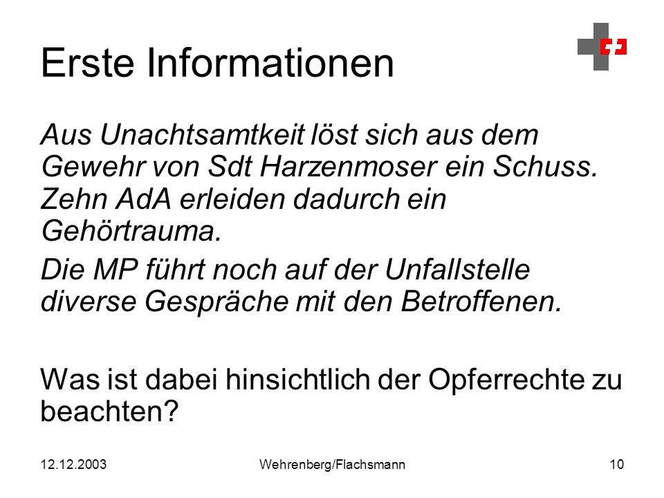 12.12.2003Wehrenberg/Flachsmann10 Erste Informationen Aus Unachtsamtkeit löst sich aus dem Gewehr von Sdt Harzenmoser ein Schuss.