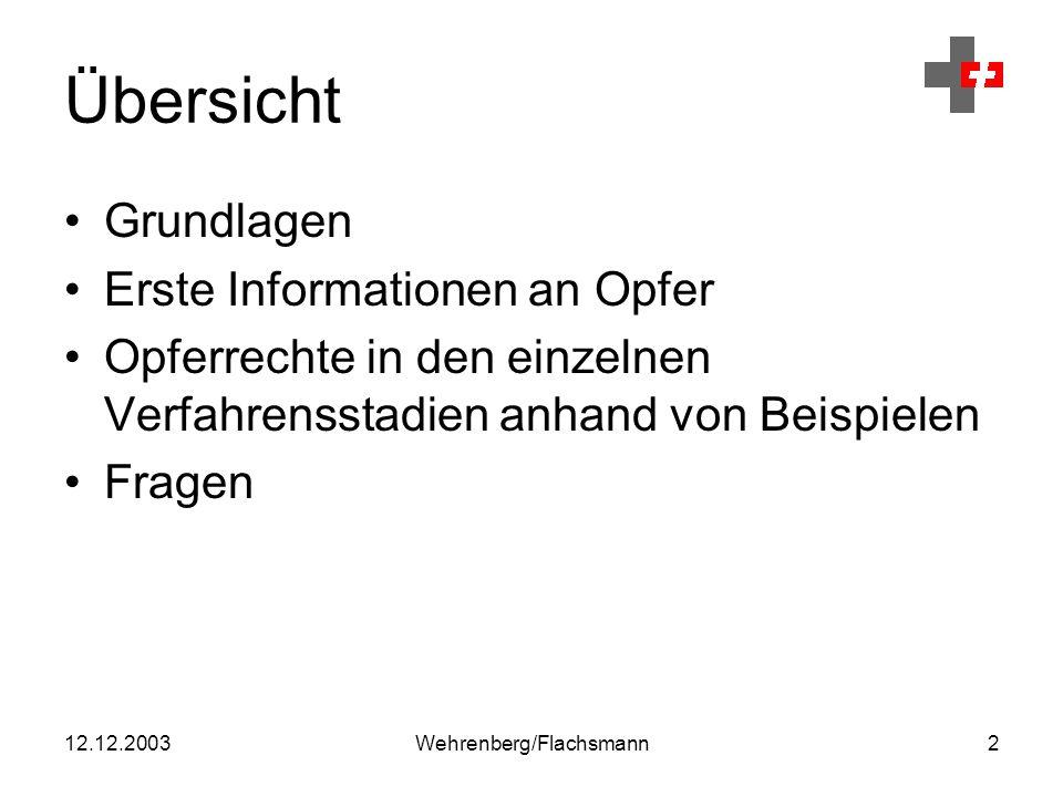 12.12.2003Wehrenberg/Flachsmann3 Grundlagen Das Opferhilfegesetz gibt einer durch eine Straftat geschädigten Person besondere Rechte, sofern sie in ihrer körperlichen, sexuellen oder psychischen Integrität unmittelbar beeinträchtigt ist.