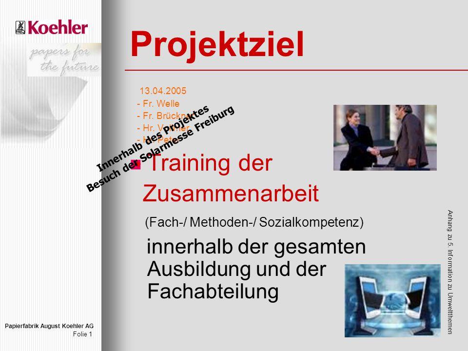Papierfabrik August Koehler AG Folie 1 Projektziel 13.04.2005 - Fr.