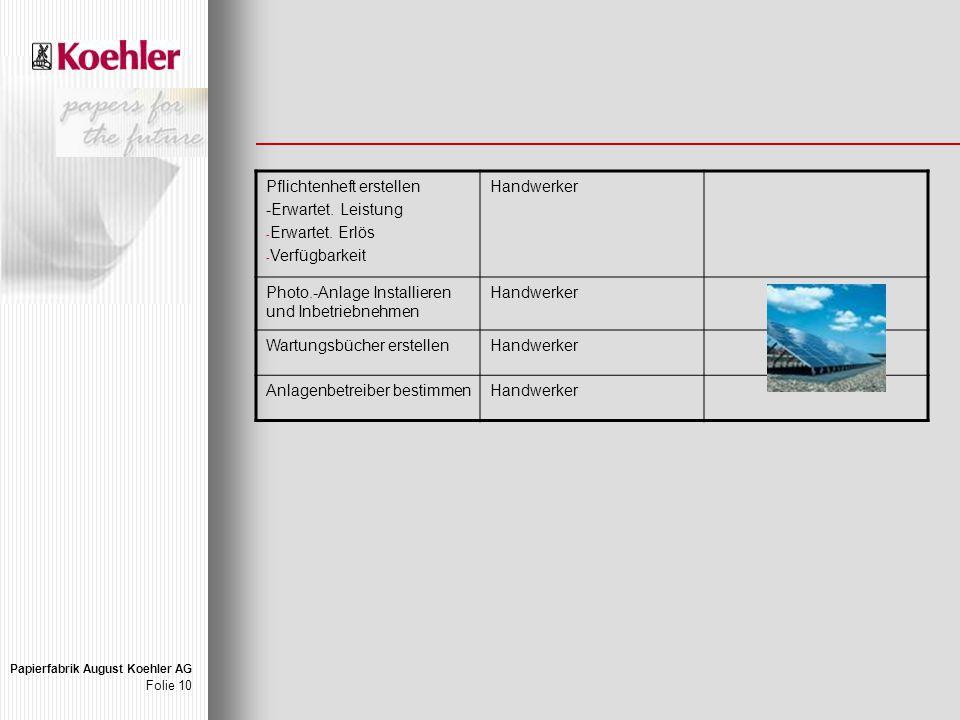 Papierfabrik August Koehler AG Folie 10 Pflichtenheft erstellen -Erwartet.
