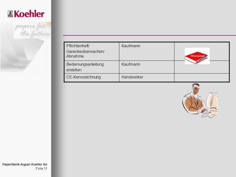 Papierfabrik August Koehler AG Folie 11 Pflichtenheft/ Garantieüberwachen/ Abnahme Kaufmann Bedienungsanleitung erstellen Kaufmann CE-KennzeichnungHandwerker