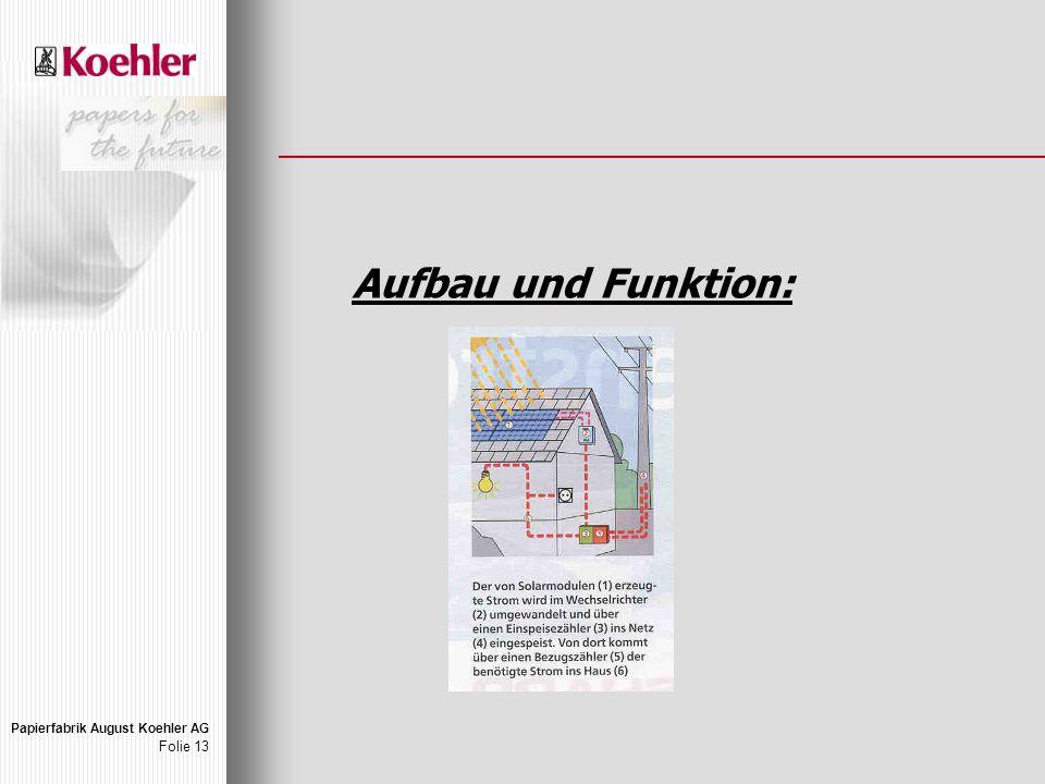 Papierfabrik August Koehler AG Folie 13 Aufbau und Funktion: